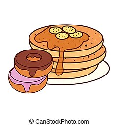 delicious pancake with donuts, on white background