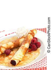 Delicious pancakes. - Delicious pancakes with raspberries ...