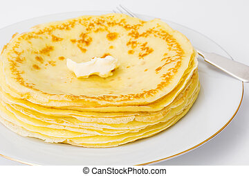Delicious pancakes on a white background
