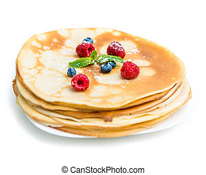 delicious pancakes on plate - delicious pancakes with ...