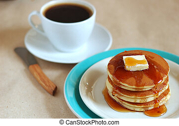 delicious pancakes - stack of pancakes and cup of coffee