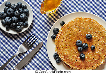 pancakes with fresh blueberries