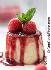 Delicious panna cotta dessert - Small panna cotta covered...