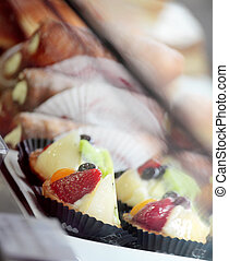 Delicious pastries in shop window - A selection of delicious...