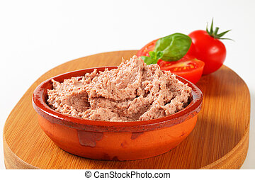 Dish of delicious spreadable pate