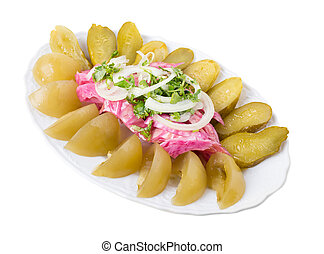 Delicious pickles with onions.
