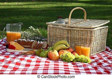Delicious Picnic Spread - Sumptuous picnic spread out on a...