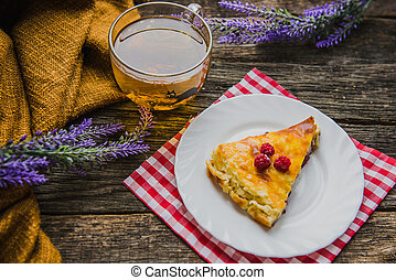 delicious pie with cottage cheese with raspberry