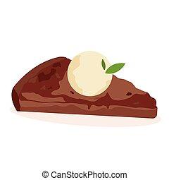 Delicious piece of chocolate cake with vanilla ice cream.