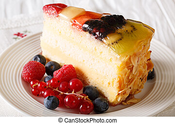 delicious piece of fruit cake jelly on a plate. Horizontal
