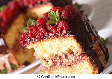 delicious piece of raspberry cake on a plate macro. Horizontal