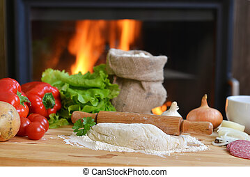 pizza dough - delicious pizza dough, spices and vegetables...