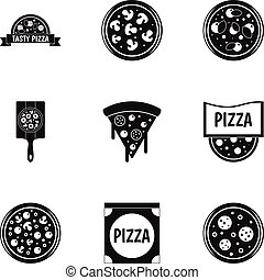 Delicious pizza icons set, simple style