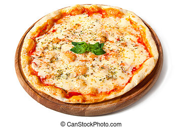 Delicious pizza on a wooden plate isolated on white