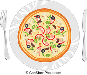 Delicious pizza on the dish. Vector illustration
