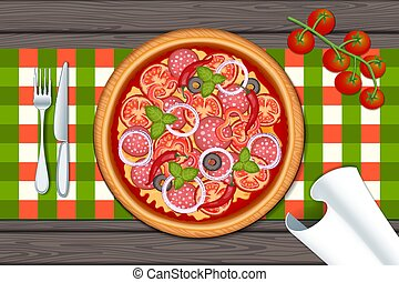 Delicious pizza on wood table with salami and tomato