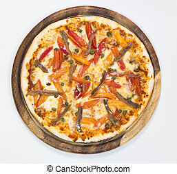 Delicious pizza top view