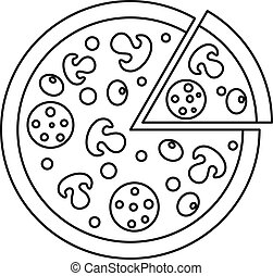 Delicious pizza with mushrooms, salami olives icon