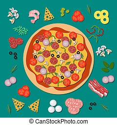 Delicious pizza with salami, cheese, tomato and other ingredients