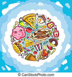 Delicious planet of cute food - Funny illustration featuring...