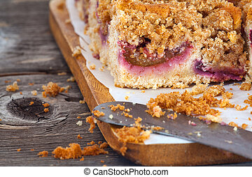 Delicious plum Crumble cake - Close up of a delicious plum ...
