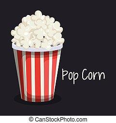 delicious pop corn fast food vector illustration design