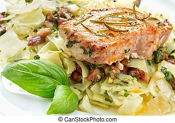 Delicious pork chop - Pork chop with basil pesto, cabbage...