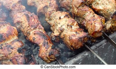 Delicious pork kebab grilled outside - Delicious fresh pork...