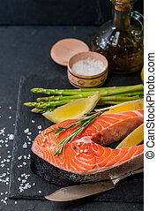 Delicious portion of fresh salmon steak