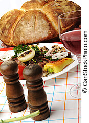 Delicious prepared and decorated food on table