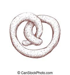 delicious pretzel isolated icon