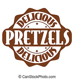 Delicious pretzels stamp or label on white, vector...