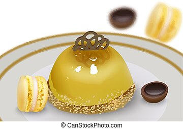 Delicious pudding cake with macaron sweets and toffee candy