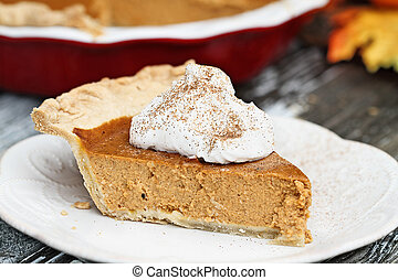 Delicious Pumpkin Pie Slice with Whiiped Cream