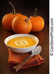 Delicious pumpkin soup with cream