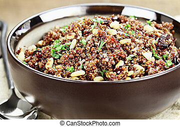 Quinoa Pilaf with parsley, pine nuts and cranberries.