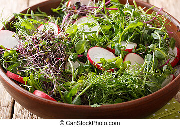 Delicious radish salad with microgreen mix close-up in a bowl. horizontal