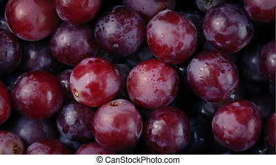 Delicious Red Grapes Rotating Closeup - Macro shot of...