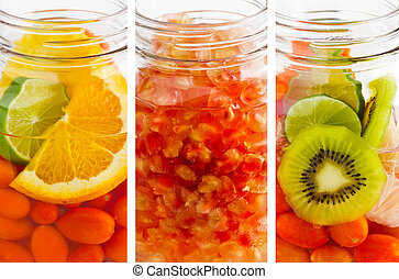 delicious refreshing drink of mix fruits vertical stripes