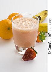 delicious refreshing strawberry orange banana milkshake natural
