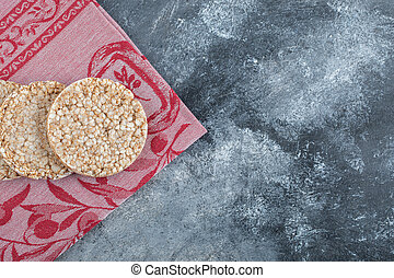 Delicious rice cakes on red cloth