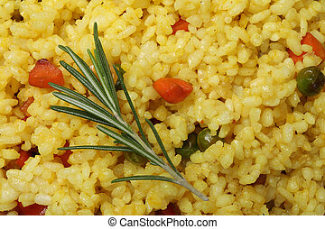 Delicious rice with vegetables background, close up