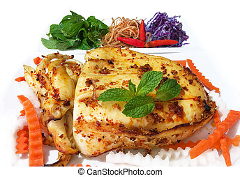Roasted Cuttlefish - Delicious Roasted Cuttlefish with Satay...