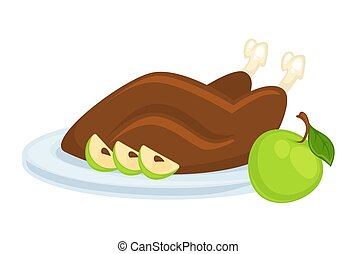 Delicious roasted duck with apple served on plate