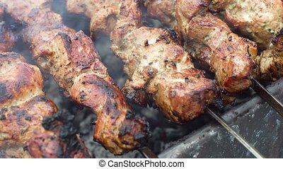 Delicious roasted pork meat on on grill