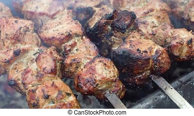 Delicious roasted pork meat on on grill - Delicious roasted...
