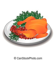 Delicious roasted turkey or chicken served on a plate with cranberry and parsley garnish.