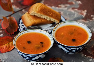 Delicious Russian soup with tomato and vegetables