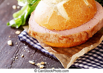 Delicious rustic lunch of meat loaf sandwich