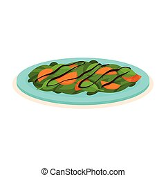 Delicious salad made of spinach and persimmon on blue plate. Natural and healthy food. Tasty dish. Flat vector icon